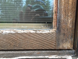 Casement Before with Worn wooden frames with degraded glazing